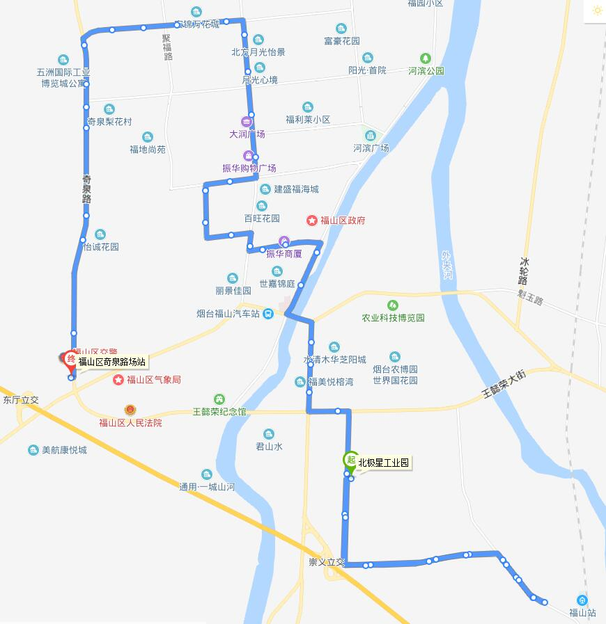 308路:蔡家夼—福山区奇泉路场站