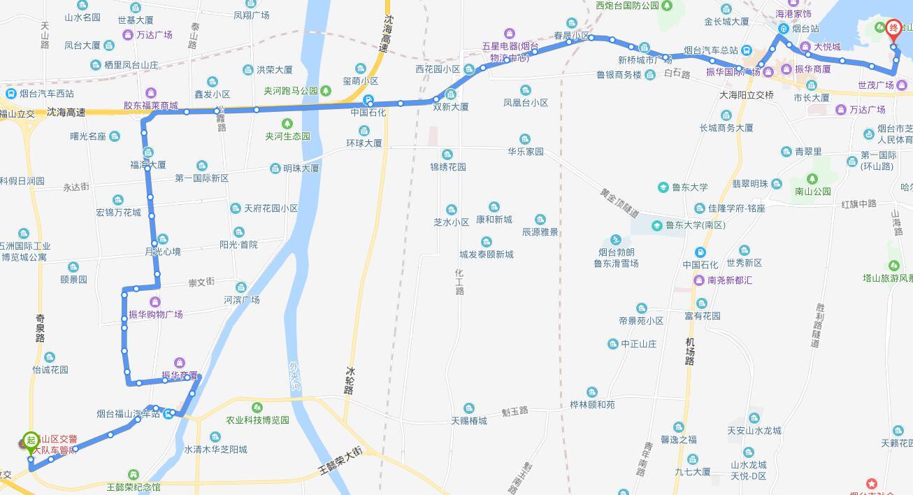 32路:福山区奇泉路场站—烟台山