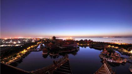 山东蓬莱三仙山风景区·景区夜景